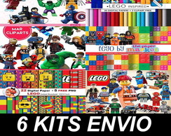 6 Kits Digitais Scrapbook - Lego