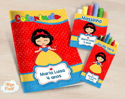 Kit colorir giz massinha Branca de Neve cute