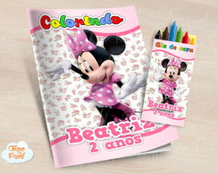 Kit colorir com giz de cera Minnie Rosa