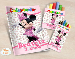 Kit colorir giz massinha Minnie Rosa