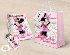 Kit colorir giz sacola Minnie Rosa