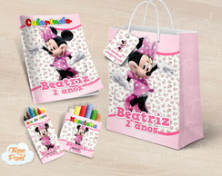 Kit colorir giz massinha e sacola Minnie Rosa