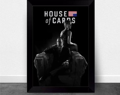 Poster com moldura house of cards P&B