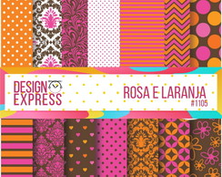 Kit Papel Digital - Rosa e laranja