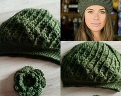 ... Boina verde militar em Croche com Flor removivel ecfaced7772