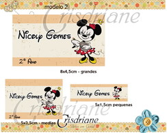 Etiqueta Escolar Minnie retro