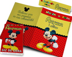 Kit Colorir Revistinha e Giz de Cera Mickey 10x15 cm