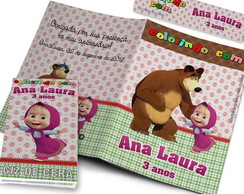 Kit Colorir Revistinha Colorir Masha e o Urso + Giz + Tag