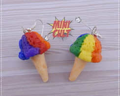 Par de brincos Rainbow Ice Cream