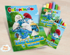 Kit colorir giz massinha Smurfs