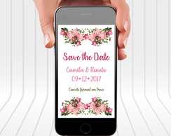 Save The Date Casamento Floral- Arte Digital Vertical