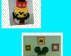 Bolo falso Mickey+painel