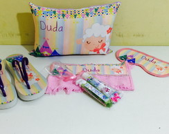 festa do pijama ovelha chinelo kit dental almofada tapa olho