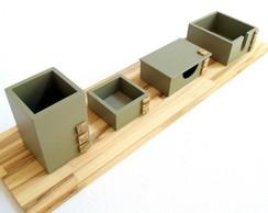 ... Organizador de mesa 4 em 1 cor concreto base madeira 1e7887b06d5b8