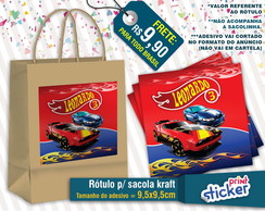 Rótulo Sacola Kraft - Hot Wheels