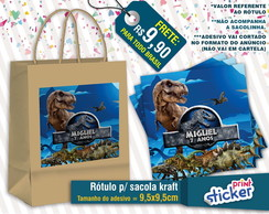 Rótulo Sacola Kraft - Jurassic World