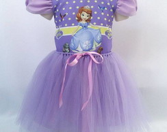 955eacd857 Vestido Princesa Sofia Fantasia Infantil com Luvas