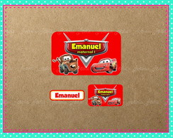 Kit 82 Etiqueta Escolar Carros Disney MCQueen