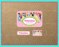 Kit 82 Etiqueta Escolar Princesas Disney