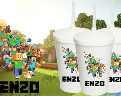Copo Canudo Minecraft 500ml