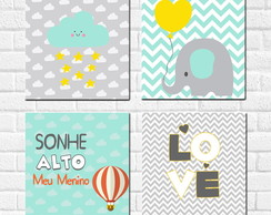 Kit 4 Placas decorativas Quarto de Menino