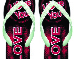 Chinelo Adulto Personalizado - I Love You