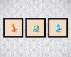 Kit 3 quadros Pokemon Baby - Infantil - 20x20cm cada