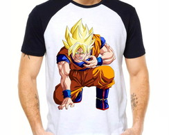Camiseta Raglan Dragon Ball Z Son Goku Ssj2 Anime Dbz 1262