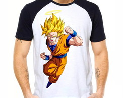 Camiseta Raglan Dragon Ball Z Son Goku Ssj2 Anime Dbz 1265