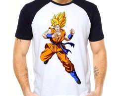 Camiseta Raglan Dragon Ball Z Son Goku Ssj2 Dbz 1273