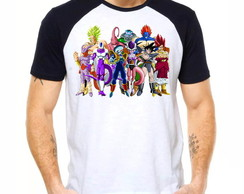 Camiseta Raglan Dragon Ball Z Broly Goku Freeza Boo 1282
