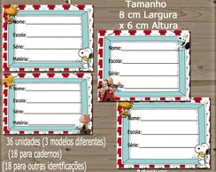 Kit de 36 Etiquetas Escolares - Snoopy