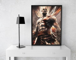 Poster com Moldura Kratos God Of War