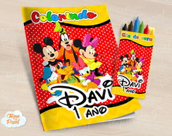 Kit colorir com giz de cera Turma do Mickey
