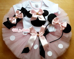 Fantasia Infantil minnie Rosa Kit tutu Disney