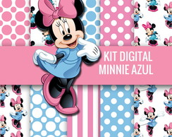 KIT DE PAPEIS DIGITAIS MINNIE ROSA E AZUL + EXTRA CLIPARTS