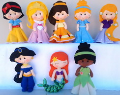 Kit Princesas Feltro - 8 Personagens