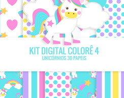 KIT DIGITAL UNICORNIOS 34 papeis e 62 Cliparts Mega pacote
