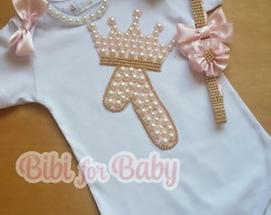 Kit Body Infantil+ Headband strass Princesa Luxo