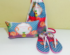 kit pool party mochila chinelo e almofada flamingo