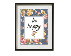 Poster Be happy floral