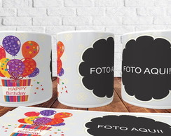 Caneca Porcelana Happy Birthday