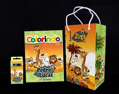 Kit de colorir Safari Revista Sacola Giz + brindes
