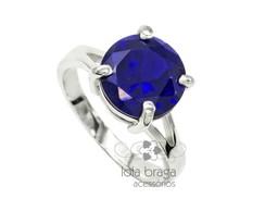 ... Anel Solitário em Prata 950 com Pedra Zircônia Azul Safira fe086f6221