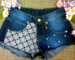 short customizado cintura alta