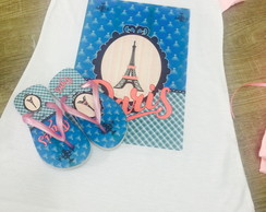 kit pijama e chinelo parisFesta paris, lembrancinhas paris,