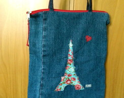 When in Paris... Bolsa jeans bordada