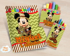 Kit colorir giz massinha Mickey Safari