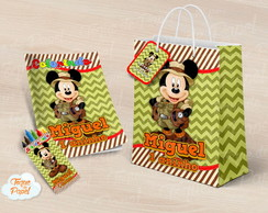 Kit colorir giz sacola Mickey Safari
