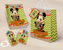 Kit colorir giz massinha e sacola Mickey Safari